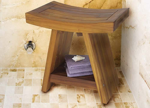Teak Shower Stool with Shelf