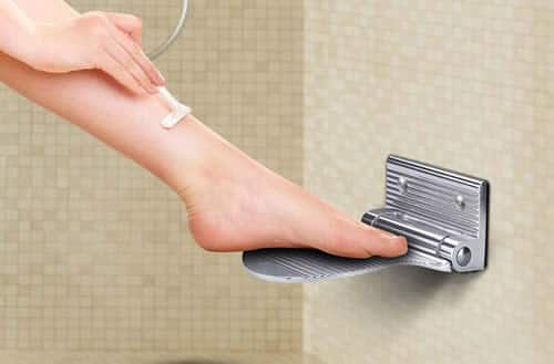 Aluminum shower shaving foot rest