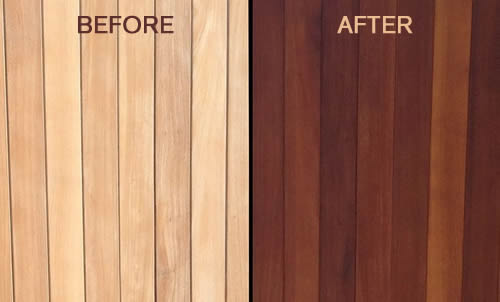Teak oil before and after