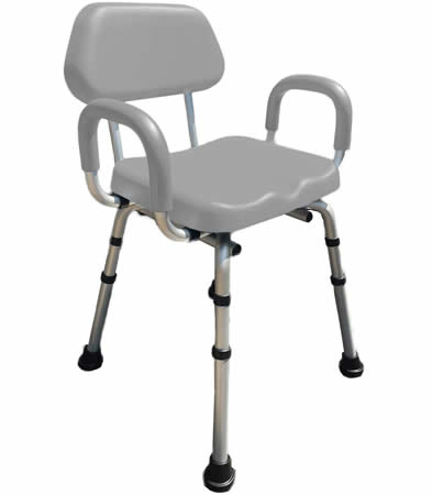 Padded shower chair with armrests