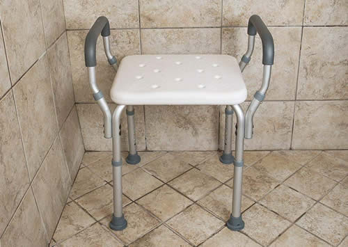 Medical shower chair with arms
