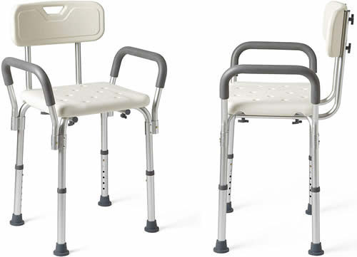 Shower chair with arms and backrest