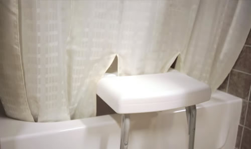 Tub bench shower curtain